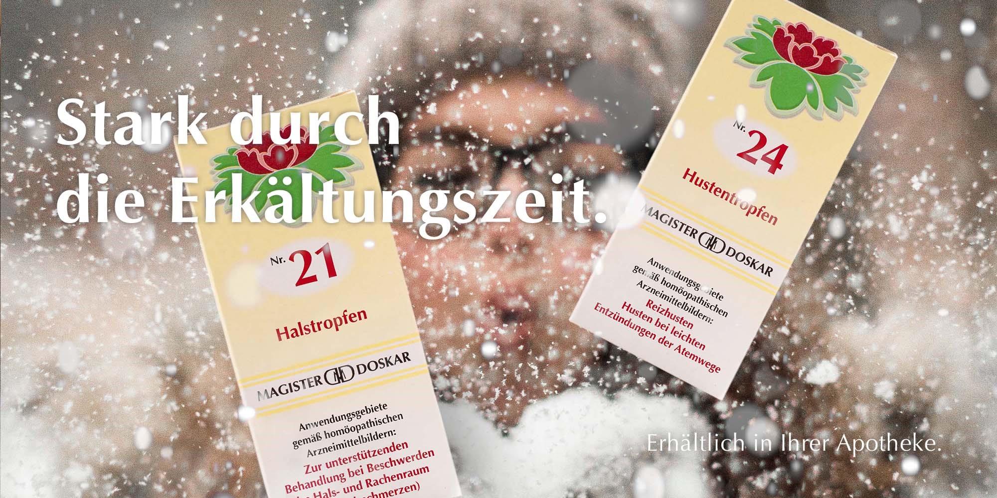 Stark durch die Erkältungszeit mit Magister Doskar Tropfen Nr. 9 zur unspezifischen Abwehrsteigerung und Nr. 20 Grippetropfen